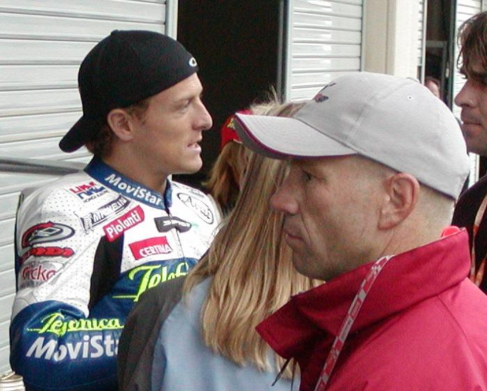 2003年4月4日 日本GP 鈴鹿サーキット Tekefonica MoviStar Honda #15 Seté Gibernau(セテ・ジベルナウ) Randy Mamola(ランディ・マモラ)
